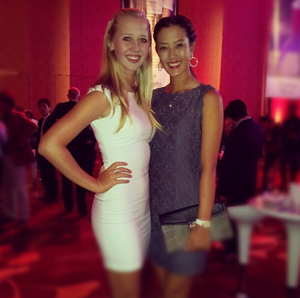 "Michelle Wie with her friend and fellow ""tall girl"" Jessica Korda in February 2013 from TheMichelleWie on Instagram."