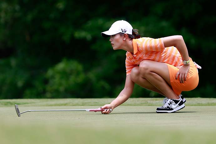 Michelle Wie lines up a putt at the Mobile Bay LPGA Classic at the Crossings Course at the Robert Trent Jones Trail at Magnolia Grove on May 17, 2013.