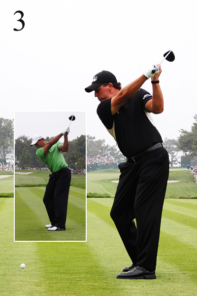 3. Both are in solid shape here with the club outside the hands. Tiger's core strength allows him to re-create this position in Frame 5 (a solid move in any swing) without as much hip rotation as Phil. In other words, Phil has more moving parts.