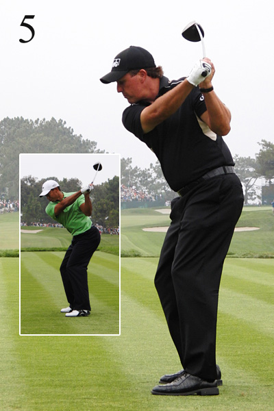 5. Here, the clubshaft should point toward the target line. Tiger is close to ideal; Phil is way off, and has three choices: 1) Ride the steep angle and hit a fade; 2) Drop the club down too far to the inside and hit a block or hook; or 3) Get lucky.