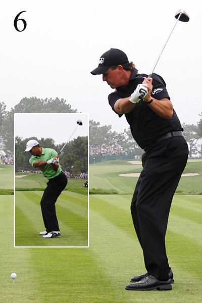 6. Notice how much more open Phil is than Tiger — Lefty is trying to save his swing. He'd rather attack the ball from the outside and hit a fade than get stuck and hit a block or hook (the shot that cost him the 2006 U.S. Open).