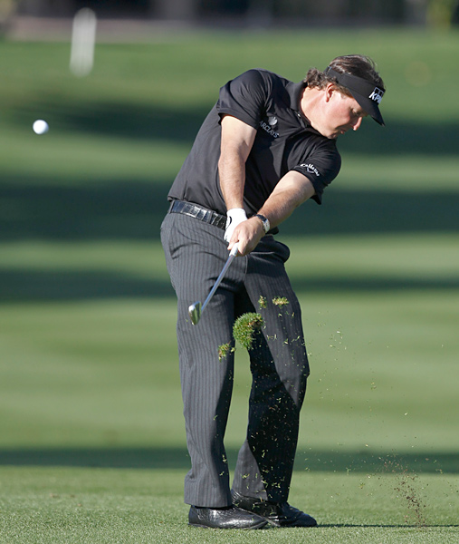 Mickelson had an up-and-down round that included an eagle, a double bogey and a triple bogey.