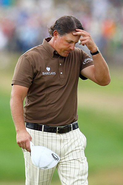 2009: Bethpage Black                       Lost by 2 to Lucas Glover                                              Breaking Point: Things looked good when Mickelson birdied 12 and eagled 13 to take the lead, but an ill-timed three-putt did him in yet again. On 15 Mickelson hit a badly misjudged first putt and then missed his par putt. He also bogeyed the par-3 17th hole, and when Glover made his only birdie of the day on 16, it was over.