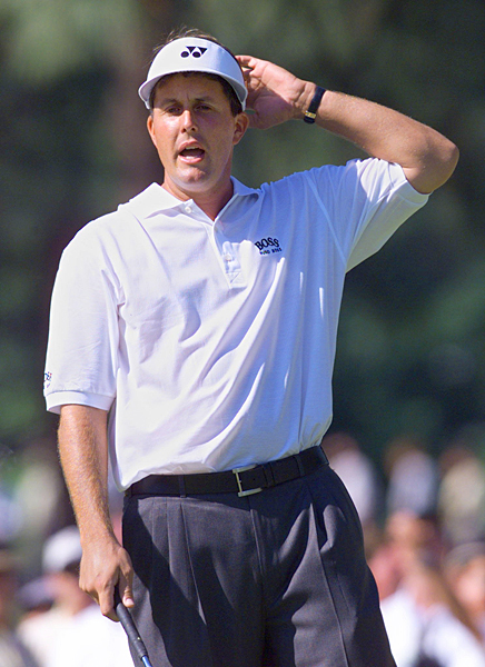 1999: Pinehurst No. 2                     Lost by 1 to Payne Stewart                                          Breaking Point: With a bogey on the 489-yard, par-4 16th hole (Stewart made a 25-foot par putt), Mickelson lost his lead. He and Stewart both knocked tee shots inside 10 feet on the par-3 17th, but only Stewart made his (three-foot) birdie putt. Mickelson's caddie, Jim Mackay, has since said he misread Phil's eight-footer.