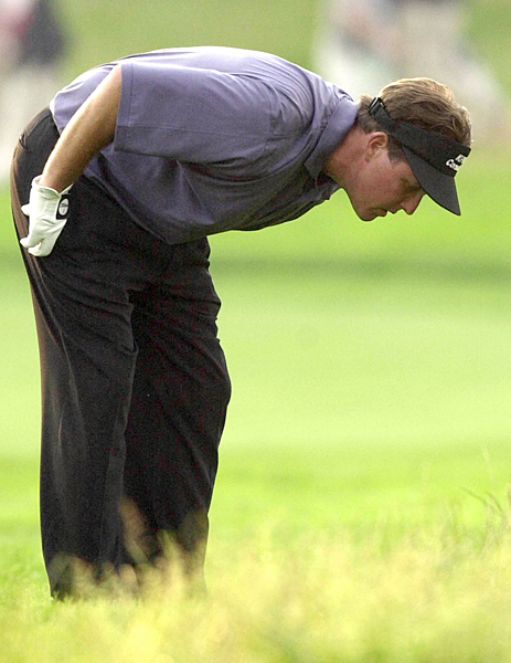 2002: Bethpage Black                                 Lost by 3 to Tiger Woods                                                                  Breaking Point: This was always Tiger's week, but after Mickelson birdied the par-5 13th hole he closed the gap to two strokes. Alas, Mickelson, playing on his 32nd birthday, had no chance after making bogey at 16. Woods would win easily despite making bogeys on two of his last three holes in near darkness.