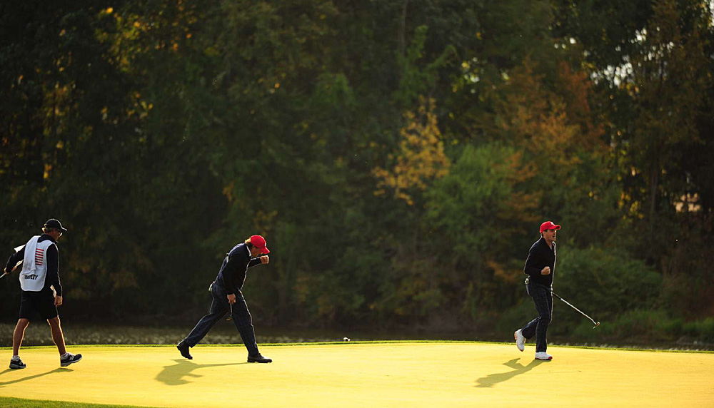 Mickelson and Bradley showed tremendous chemistry on Friday, from their first hole in foursomes (above) to the end of their four-ball victory.