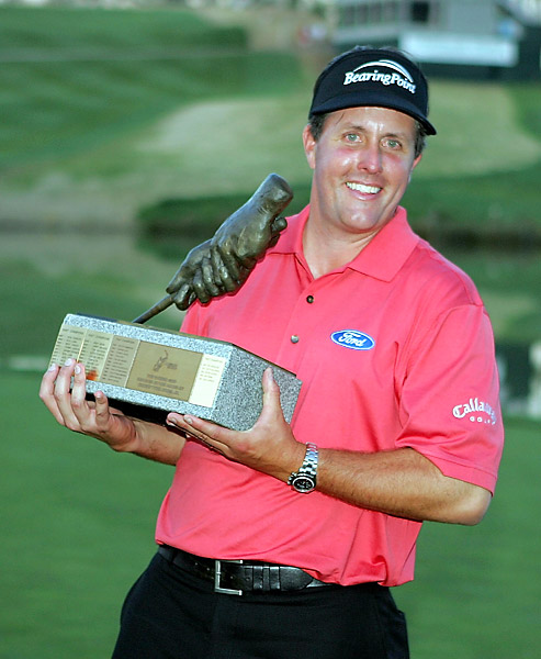 Callaway signs Mickelson in 2004                       When Phil Mickelson won the 2004 Masters, he dropped Titleist for Callaway. He signed an extension in 2009, and SI.com estimates his annual endorsement income to be $57 million, much of which comes from Callaway.
