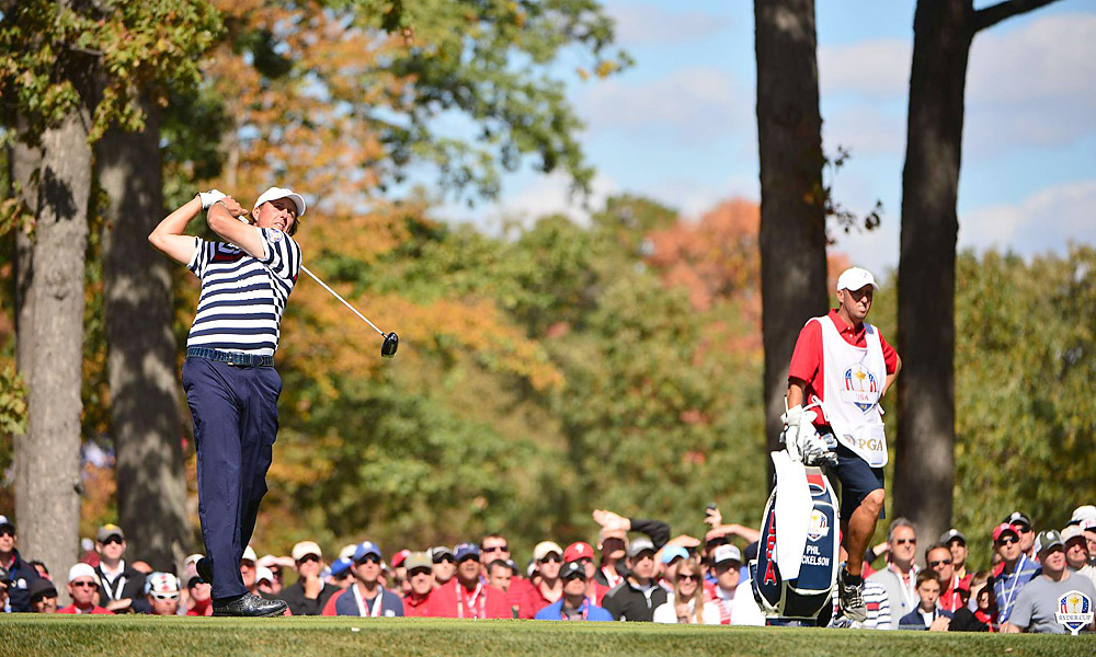 Mickelson stayed with Rose all day but couldn't match him in the end.