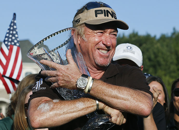 """Miguel Angel Jimenez become the third golfer in history to win wire-to-wire in his Champions Tour debut, holding off Bernhard Langer to take the Greater Gwinnett Championship title on Sunday. """"I'm very happy with my age and the way I'm doing,"""" he said. """"The last 15 years is when my best golf is coming. It's nice. No complaint with 50."""""""