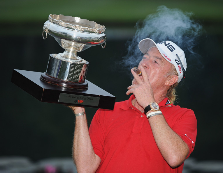 """At 48, Miguel Angel Jimenez won the 2012 Hong Kong Open to become the oldest winner in European Tour history. """"There is maybe olive oil in my joints, and drinking the nice Rioja wine and those things keeps me fit and flexible,"""" he said. """"Well, the most important thing (is), I do what I like to do in my life, and golf has given me all of this pleasure."""""""