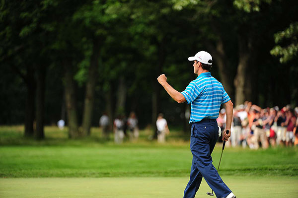Canada's Mike Weir holds the lead after the completion of the first round, after a six-under 64.