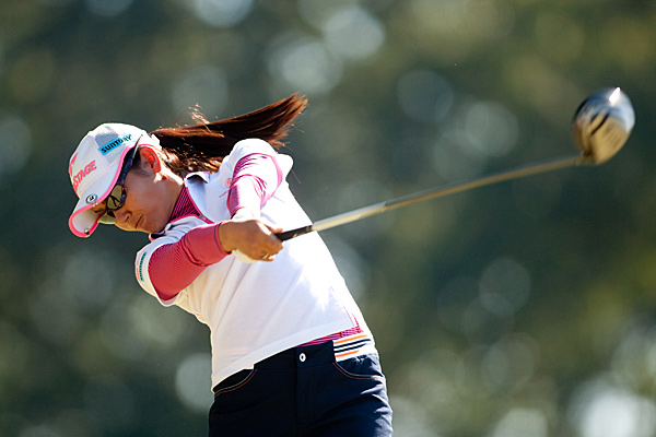 Ai Miyazato is five shots back at two under.