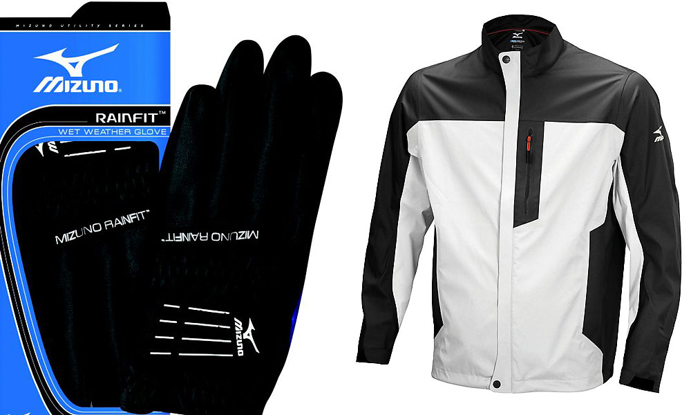 Mizuno rain jacket, rain gloves (Jacket $169.99; pants $139.99; glove $24.99 at mizunogolf.com)                       When it comes to rain gear, some guys want the full Monty. This Mizuno rain suit has a soft-to-the touch shell with awesome moisture-shedding performance (waterproof to 10,000 mm) and has matching pants (not shown). The Mizuno RainFit golf glove, in a Japanese-developed synthetic suede, grips better the wetter it gets.