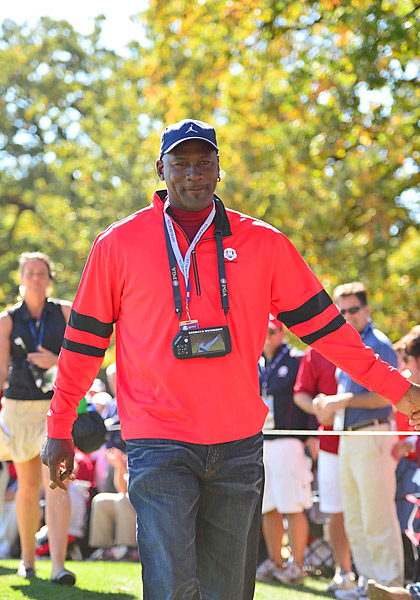 Michael Jordan was at the course supporting the Americans on Sunday.