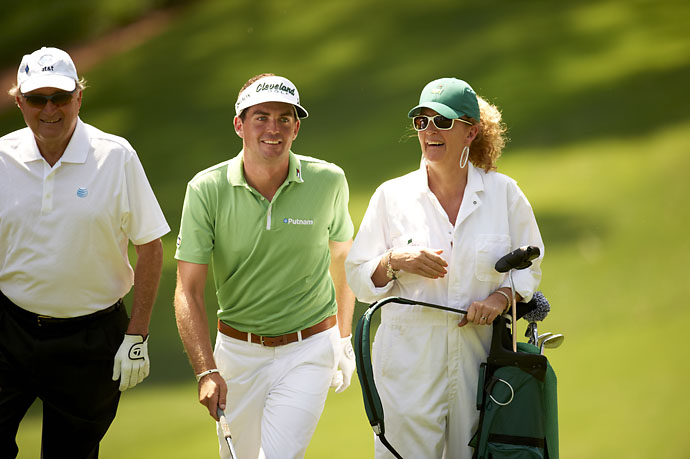 Keegan Bradley with his mother, serving as caddie during Par 3 tournament on April 4, 2012, at Augusta National.
