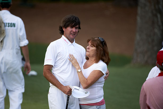 Bubba Watson celebrates with his mother, Molly Marie Watson, after winning the Masters on April 8, 2012.