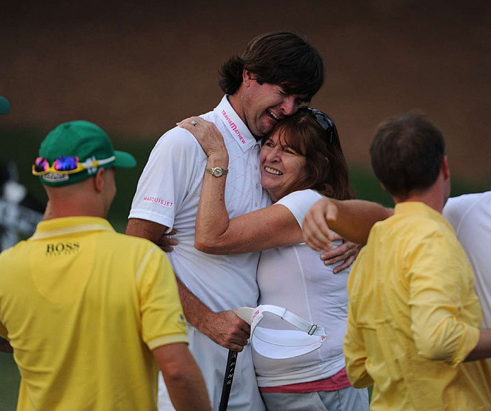 Bubba Watson was overcome with emotion when he hugged his mother, Molly Marie, after winning the Masters.