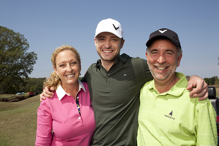 Yes, Justin Timberlake is primarily a performer, but he's also on Callaway's payroll and owns a golf course in Memphis. Here he's shown with his mother, Lynn Harless, and stepfather and golf partner, Paul Harless.