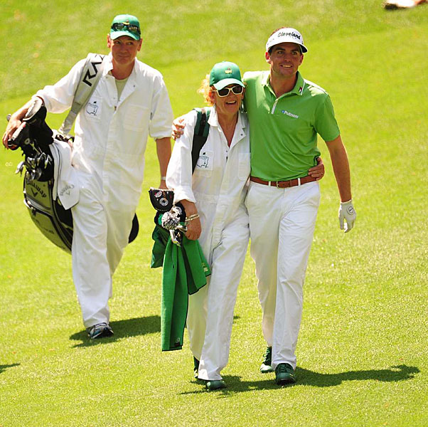 Keegan Bradley's mom, Kaye, was his caddie for the par 3 contest at the 2012 Masters.