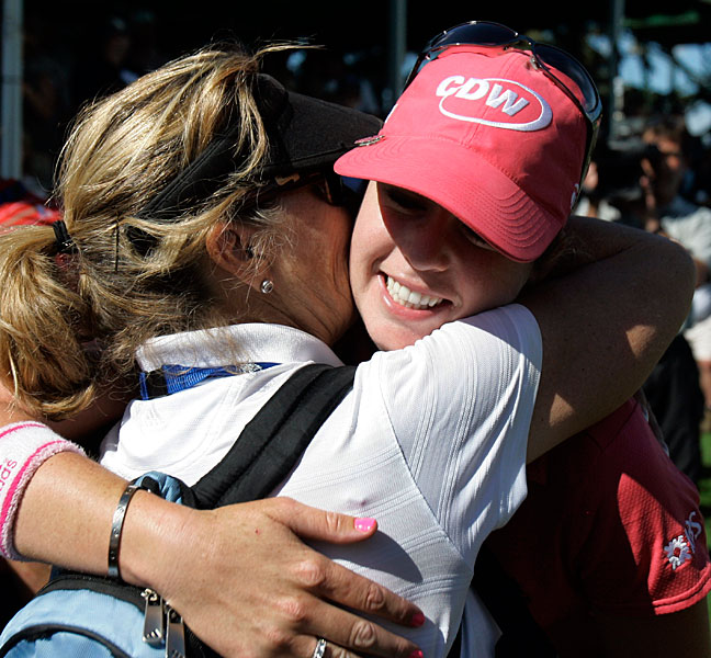 Paula Creamer hugged her mom, Karen, after winning the 2008 Jamie Farr Owens Corning Classic.