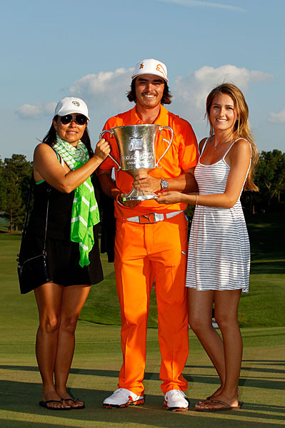 After winning his first PGA Tour event at the 2012 Wells Fargo Championship, Rickie Fowler was joined by his mother, Lynn, and girlfriend, Alexandra Brown.