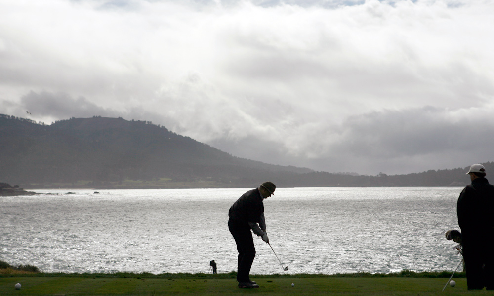 Robert Beck took this photo in 2007 of Murray on the tee at Pebble's famous par-3 seventh hole.