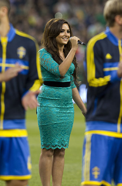 Nadia Forde sings the Irish National Anthem before the World Cup Qualifying, Group C match between Ireland and Sweden at the Aviva Stadium, Dublin in September 2013. Neither squad qualified for the World Cup.