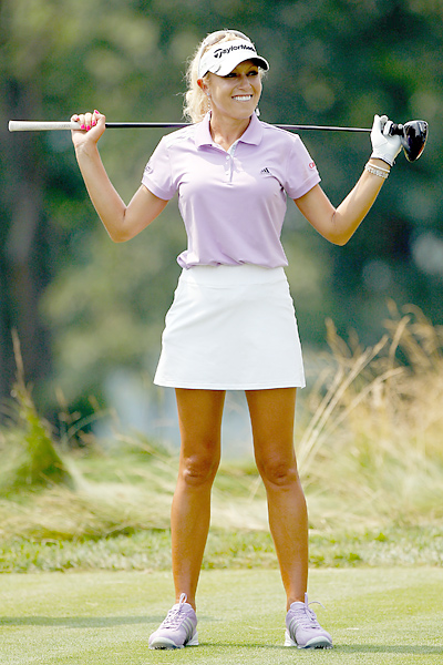 "Nice stems Natalie Gulbis, one of the most glamorous women golfers, wore short skirts throughout the open. Let's call them ""miniskorts."""