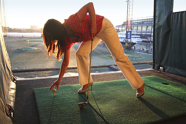 7:21 p.m., Chelsea Piers Well-heeled Tiffany Kirk will stand tall to the ball.