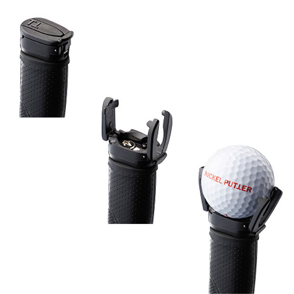 Nickel Putter Golf Ball Pick-Up($20; golfsmith.com)                       Forget suction cups, the Nickel Putter Golf Ball Pick-Up fits almost any putter grip and opens for use with the touch of a finger. Dad will be able pluck his golf ball out of the hole without ever having to bend over again.