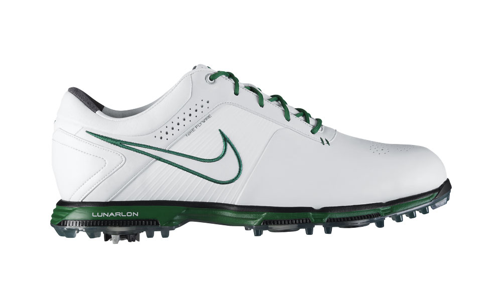 Nike's advanced technology Lunarlon golf shoes, with lightweight flywire technology, in Masters green with green soles and laces. Available at nike.com ($190).