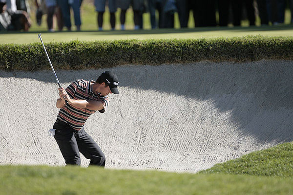 Aaron Baddeley found himself deep in this bunker and far from the lead during the third round of the Nissan Open at Riviera Country Club.