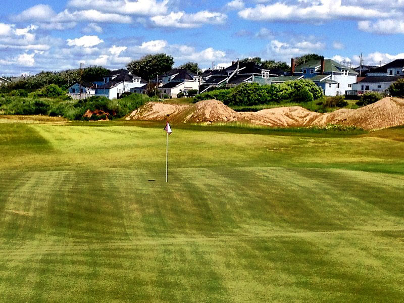"""@eamonlynch: The Biarritz green at the 7th, which is 247 yards from the tips. Into the wind."""