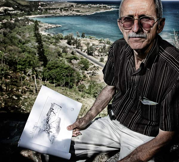 Architect Noel Fuentes on a bluff overlooking the site of what he hopes will be a new course, a spot once eyed by gangster Meyer Lansky for a casino.