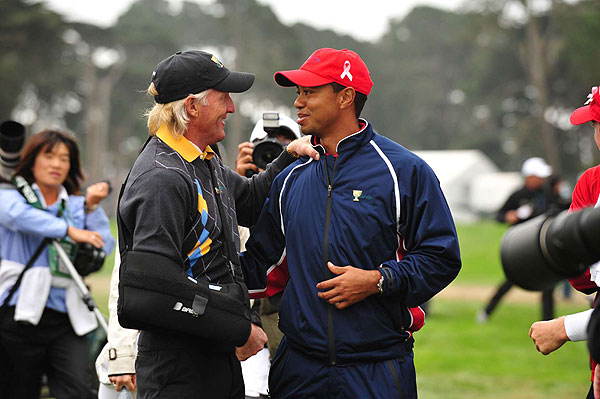 International captain Greg Norman congratulated Woods after the win.
