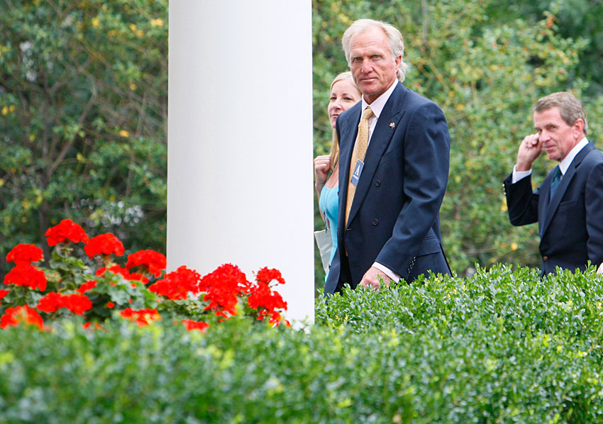 Greg Norman, his then-wife Chris Evert and PGA Tour Commissioner Tim Finchem met with President Barack Obama in 2009.