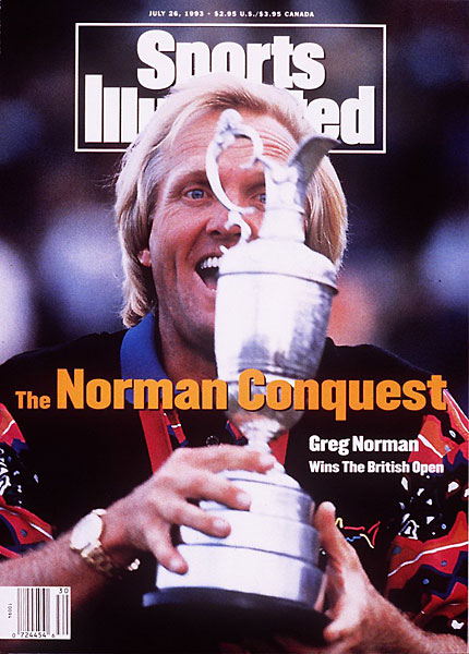 Norman fired a final-round 64 to beat Nick Faldo by two strokes at Royal St. George's and win his second British Open.