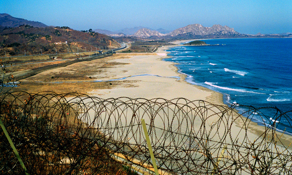 GREAT DIVIDE: The view over the border into North Korea.
