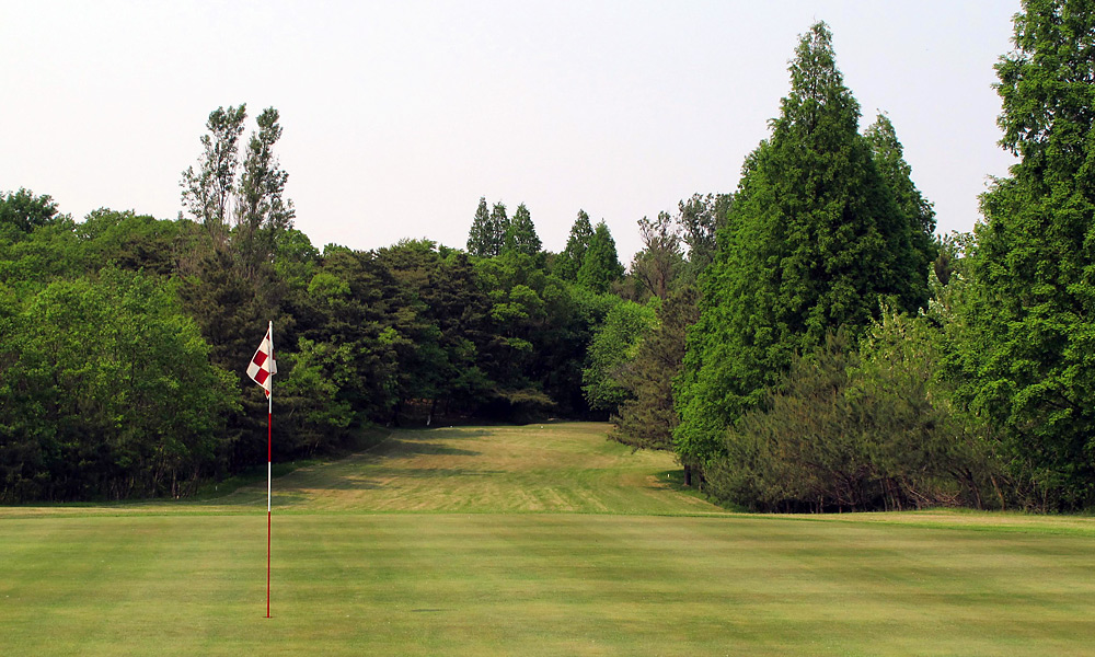 CHOKED UP: The penal layout at Pyongyang is defined by narrow fairways and O.B. stakes.
