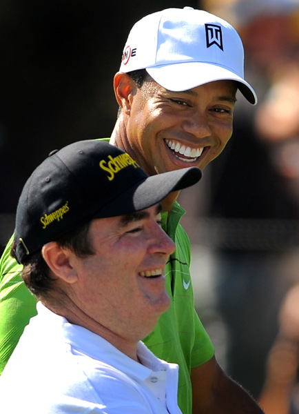 Woods played nine holes with Aussie Craig Parry.