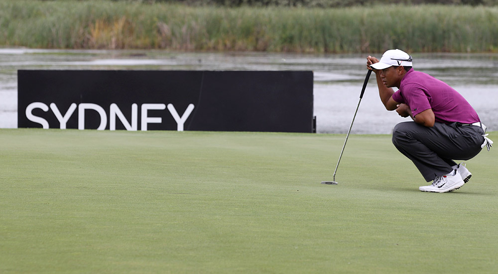 """Woods went bogey-free for the first time in nine months. """"They were conditions where it was easy to make a couple of bogeys in a row, so I'm happy,"""" he said."""