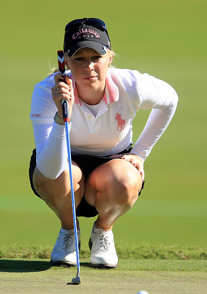 With two birdies and two bogeys, Morgan Pressel is at even par.