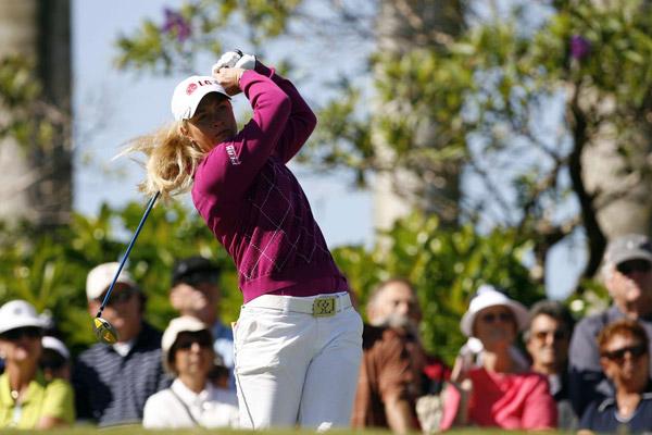 Suzann Pettersen, who birdied the par-5 third hole, is at even par.