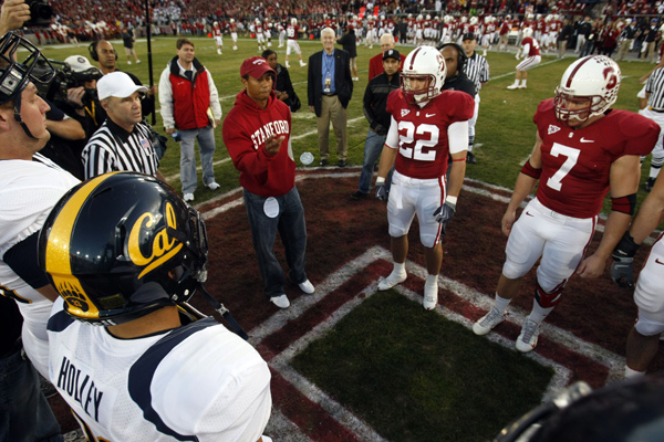served as the honorary captain at the Cal vs. Stanford football game on Saturday. He flipped the coin to start the game, and Woods was also inducted into the Stanford Athletics Hall of Fame at halftime.