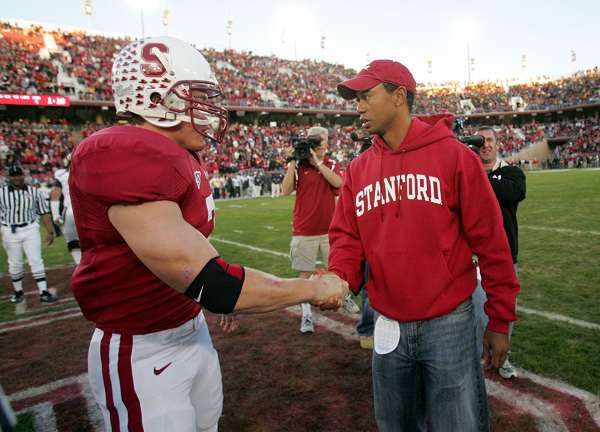 Woods, with Stanford football player Tony Gerhart, spent two years in college before turning pro.