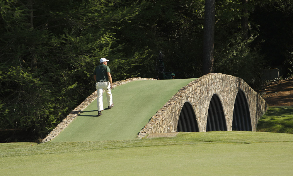 """I'm thankful for clubs that don't allow cell phones and really mean it. I need a break from the electronica in my life, and sometimes the only place you get it is on the course. I think I'm going to power down now. Happy thanksgiving to all."" - Michael Bamberger, Sports Illustrated senior writer [Pictured: Phil Mickelson on Hogan Bridge at the 2010 Masters]"