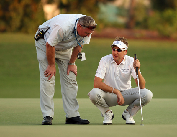 was the victim of another bizarre rules gaffe when he accidently dropped his ball on his marker. The marker moved from its original position on the green, thus a one-stroke penalty was assessed to Poulter.