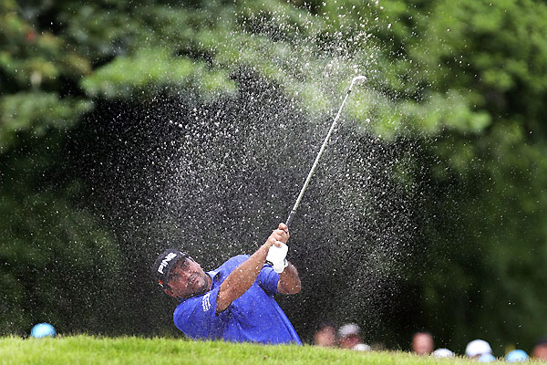 U.S. Open champion Angel Cabrera grabbed the lead with an eight-under 63.