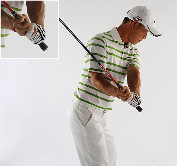 Long Thumb: Anthony Kim                                          What It Does: Extending the right thumb and placing it on top of the handle                     provides ultimate clubhead control, especially when A.K. pairs it with his trademark choke.                     How to Do It: Instead of setting your right thumb on the left side of the grip, set it straight and press down on the top of the handle. Add A.K.'s choke to really make it work.                     You know you need it if: You need more distance. Having greater control of the clubhead increases your chance of centered contact, which is the main key for longer hits.