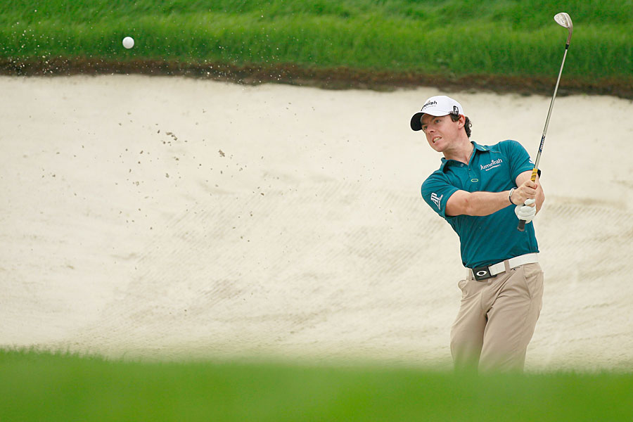 Rory McIlroy is five shots back after a two-under 70.